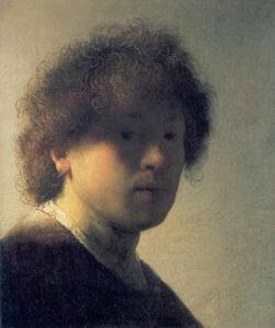 Zelfportret Rembrandt als een jonge man, c.1628, Portretschool Amsterdam, schilderrecord #podp
