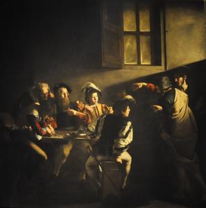 Caravaggio (1571-1610), De roeping van Mattheus, Portretschool Amsterdam