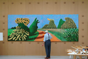 Hockney aan het werk, foto: Jean-Pierre Gonçalves de Lima