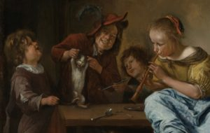 Jan Steen, Kinderen leren een kat dansen, Rijksmuseum, Portretschool Amsterdam