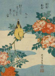 Katsushika Hokusai (1760–1849), Bush warbler and roses. Woodblock print, 1834.