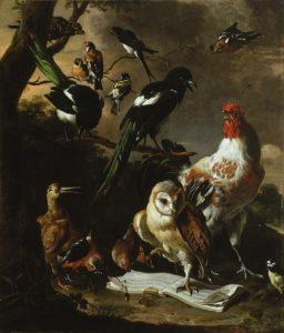 Melchior d'Hondecoeter, Het vogelconcert, Portretschool Amsterdam