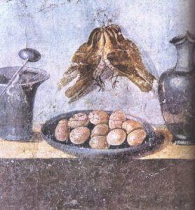 Muurschildering uit Pompeï, Eieren en lijsters