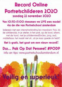 PODP 2020 postertje Record Online Portretschilderen, Portretschool Amsterdam