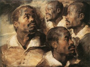 Peter Paul Rubens, vier studies van het hoofd van een zwarte man, 1615, Portretschool Amsterdam