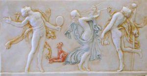 Reliëf van Fauns en dansende bacchanten