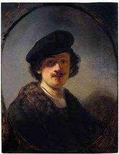 Rembrandt zelfportret met beschaduwde ogen,1634, Portretschool Amsterdam