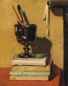 Sir William Nicholson, vase and books on a red table