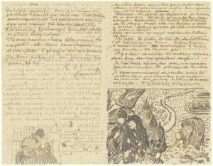 Van Gogh, schets in brief, Portretschool Amsterdam